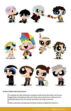 These are quite possibly the cutest thing I have ever seen..... look at nine and eleven they are so adorableeeeeeeeeeeeeeeeeeeeeeeeeee Chibi, Tumblr, X Men, Dr Who, Harry Potter, Star Wars, Fangirl, Film, Supernatural