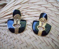 Vintage Berebi Pierced Black Gold Enamel by VisionsReVamped, $22.00