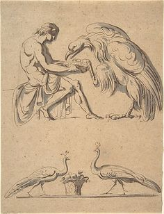 Nicolai Abraham Abildgaard  (Danish, 1743–1809) Jupiter, disguised as an eagle, with Ganymede, and a sketch of  two peacocks, mid 18th–early 19th century. The Metropolitan Museum of Art, New York. Harry G. Sperling Fund, 2009 (2009.398) #peacock