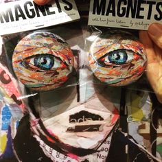EYE MAGNETS / high quality magnets Ø / small edition by the artist from the original collage artwork / ©philippe patricio / all rights reserved Collage Artwork, Collage Artists, Torn Paper, Shape And Form, Portugal, Magnets, Art Pieces, Portraits, Hand Painted