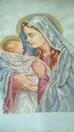 Virgen de la Ternura,bordada en punto cruz