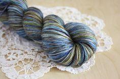 Hand Dyed Fingering Weight Sock Yarn / Deep Blue Brown Grey Moss Winterfell Merino Wool Cashmere Nylon Caresse / NEW