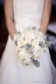 peonies and dusty miller
