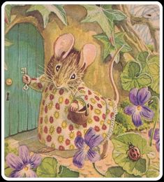 """Beatrix Potter - the original """"Cottage"""" Mouse - painted and decorated with gumpaste flowers. The Beatrix Potter books are pretty timeless favorite in our home no matter how old the kids get. Sweet memories flow with her stuff. Beatrix Potter Illustrations, Beatrice Potter, Peter Rabbit And Friends, Motifs Animal, Marjolein Bastin, Cute Mouse, Woodland Creatures, Children's Book Illustration, Book Illustrations"""
