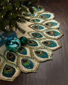 Peacock+Christmas+Tree+Skirt+by+Kim+Seybert+at+Neiman+Marcus.
