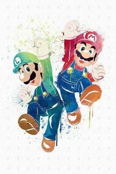 PenelopeLovePrints Mario X Luigi Poster prints 3 - Switch Nintendo - Switch Nintendo for sales - Super Mario Bros, Super Mario World, Super Smash Bros, Super Nintendo, Nintendo Games, Mario E Luigi, Mario Party, Video Game Art, Cartoon Wallpaper