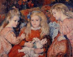 Three Little Girls, by Georges Lemmen (Belgian, 1865-1916)