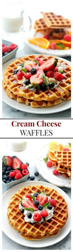 Cream Cheese Waffles with Honey Whipped Cream   www.diethood.com   Deliciously sweet, light and fluffy waffles served with honey whipped cream and fresh berries. They're SO GOOD!