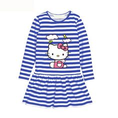 Blue Stripe Girl Dress Long Sleeve Baby Girls Clothing Hello Kitty Cotton Girls Princess Dresses Autumn Clothes Summer vestidos #>=#>=#>=#>=#> Click on the pin to check out discount price, color, size, shipping, etc. Save and like it!