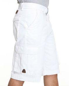Men's Pants & Shorts - Cellangino White Cargo Shorts - K Fashion ...
