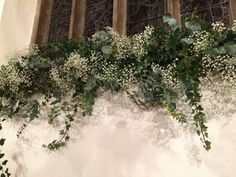 light and fluffy church window, eucalpytus and gypsophila