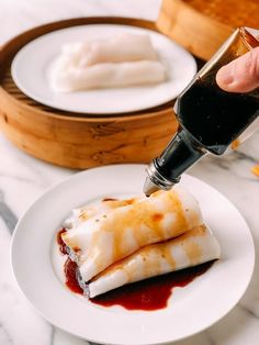 """Shrimp Rice Noodle Rolls, or """"ha cheung"""" are a dim sum classic. Our recipe for homemade rice noodles, or cheung fun, wrapped around plump shrimp and doused in a sweet soy sauce, has been heavily tested! Rice Noodle Roll Recipe, Rice Noodle Recipes, Taiwan Noodle Recipe, Homemade Noodle Recipe, Rice Flour Recipes, Shrimp Rice Noodles, Shrimp And Rice, Sushi, Seafood Recipes"""