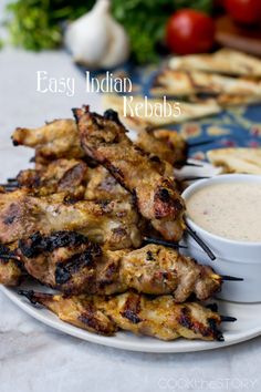 India-Spiced Grilled Chicken Kebabs with Yogurt Sauce