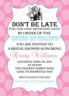 Alice In Wonderland bridal baby shower or birthday party invitation SweetBeeDesignShoppe on Etsy
