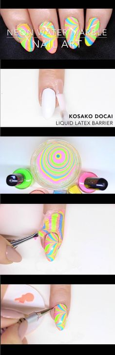 Super Easy Nail Art Ideas for Beginners - NEON WATER MARBLE NAIL ART WATERMARBLE NAIL ART FOR BEGINNERS - Simple Step By Step DIY Tutorials And Pictures For Nailart. Ideas For Every Style, All Hair Colors, Sparkle, Valentines, And other Awesome Products To Make It DIY and Super Easy - https://thegoddess.com/nail-art-ideas-beginners