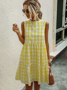 Yellow Cute Sleeveless Polyester Gingham Smock Non-stretch Summer Dresses, size features are:Bust: ,Length: ,Sleeve Length:Sleeveless Blue Fashion, Look Fashion, Fashion Outfits, Indie Outfits, Fashion Colours, Women's Summer Fashion, Woman Fashion, Fashion Trends, Diy Dress
