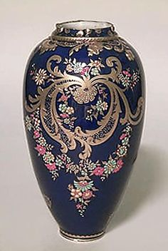 English Victorian Cobalt Blue Porcelain Vase With Gold Scroll Design And Enamel Trim