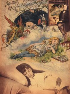 "indigodreams:    blissdreaming:  Collage by Adriana Peliano over the cover of ""The Nursery Alice"", and pictures of Lewis Carroll and Xie Kitchin (by Lewis Carroll)."