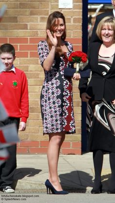 Duchess Kate: Duchess of Cambridge Launches Counselling Programme in Manchester, wearing a print dress by Erdem 4/23/13