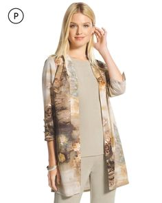 Chico's Women's Travelers Collection Petite Printed Duster Jacket