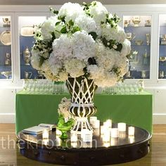 {Table for Sharon} Hydrangeas! Could there ever be anything wrong w/ Hydrangeas?!   LFF Designs   www.lffdesigns@gmail.com