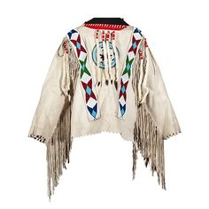 Plateau Man's Beaded Hide War Shirt, thread-sewn on softly tanned hide and beaded using colors of rose, dark and light blue, white, and bottle green; ermine tails wrapped in red wool hang from seams; long fringe further embellishes shirt, length 24.5 in. x chest 46 in. second quarter-mid-20th century