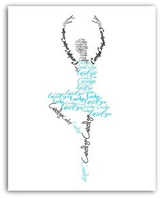 Ballerina Personalized Name Print, Ballet Dancer Gift, Dance Art, 8x10 or 11x14 Print. Make your print personal with your dancer's name. This ballerina name art would make a perfect Dance teacher gift, recital gift, or girl's room decor. Customize with your favorite color tutu and shoes! NOTE: Color display may vary due to differences in monitor settings. LISTING IS FOR: (1) Art Print - 8x10 or 11x14 (does not come with frame or mat).