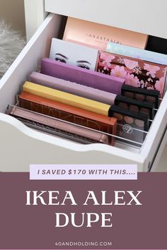 I saved over $170 with this easy DUPE for Ikea's 9 Drawer Alex Makeup Organizer. Check it out over on the Beauty Blog. #ikea #dupes #makeuporganizer #makeuporganization #organization #beauty #makeupstorage #storage #40andholdinglife