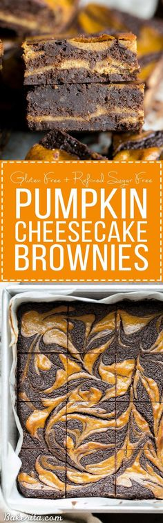 These Pumpkin Cheese  These Pumpkin Cheesecake Brownies are moist + fudgy brownies with a swirled layer of spiced pumpkin cheesecake! These brownies are gluten-free and refined sugar free.