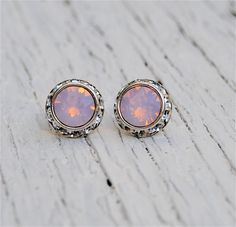 Light Pink Opal Earrings  Small Sugar Sparklers  by MASHUGANA, $18.50