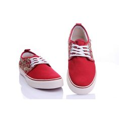 Vans Shoes Red Embroidery Classic Canvas Sneakers Cheap Converse Shoes, Vans Shoes, Cheap Van, Vans Skate, Van For Sale, Canvas Sneakers, Shoes Outlet, Vans Classic, Embroidery
