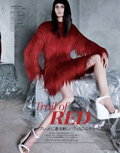 Trail Of Red: Marie Piovesan in PRADA Fall 2014 By Yusuke Miyazaki For Elle Japan September 2014