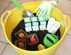 Spring Garden Sensory Box and Preschool Lesson Plan