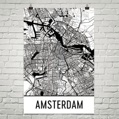 Amsterdam Map, Amsterdam Print, Amsterdam Art, Amsterdam Netherlands Poster, Amsterdam Wall Art, Map of Amsterdam, Gift, Decor, Modern, Art