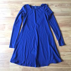"""Express Trapeze Dress Dark navy. Zipper back. Super versatile and can be dressed up or down! One of my favorite fall dresses. I am 5'5 and it hits me about 2"""" above my knee. Express Dresses Long Sleeve"""