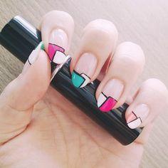 geometric nail art, nails, nail polish, colorful nail art, color block nail art
