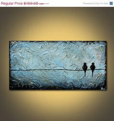 Birds on a Wire The Depths LARGE long original acrylic painting on canvas Great Gift Acrylic Painting Canvas, Canvas Art, Painting Art, Bird Pictures, Art Plastique, Painting Inspiration, Diy Art, Art Projects, Art Photography