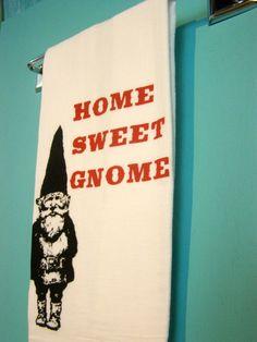 Kitchen Towel - Home Sweet Gnome - Red retro kitchen -Screen Print - Indie Housewares
