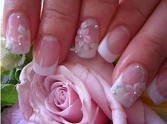 French manicure with flowers                              …