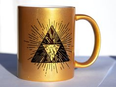 Triforce Zelda Mug Gold Sparkles Coffee Tea by KittyCatCases
