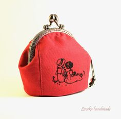 Red Coin Purse  Women's Red Leather Clasp Change by LovekaHandmade, $27.00