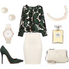 Elegant green accent by smirnoff-designs on Polyvore featuring polyvore, fashion, style, By Malene Birger, Acne Studios, Kate Spade, Juliet & Company, SELECTED and Chanel