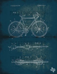 Vintage Bicycle Patent Blueprint DIY Printable Art by txartshop