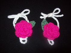 Crochet Baby Barefoot Sandals - bright pink rose