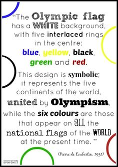 Symbols of the Olympic flag and their Olympic Rings Colors. Includes Activities for kids with olympic theme. Olympic Flag, Olympic Idea, Olympic Sports, Olympic Gymnastics, Gymnastics Quotes, The Olympic Rings, Olympic Games For Kids, Olympic Colors, Kids Olympics