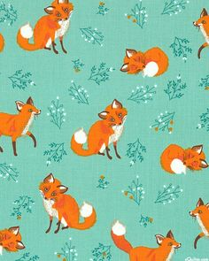 Forest Fellows - Fox Kit Friends - Mint Green. From eQuilter.com