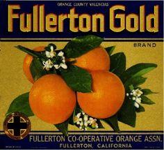 """/""""GOLDEN EAGLE/"""" RARE ORIGINAL 1930s FULLERTON CALIFORNIA ORANGE FRUIT CRATE LABEL"""