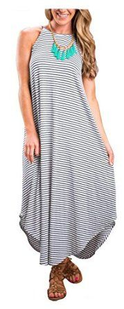 ETCYY Womens Summer Casual Stripe Sleeveless Loose Beach Maxi Dress ETCYY