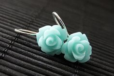 Turquoise Rose Dangle Earrings  Flower by StumblingOnSainthood, $12.00