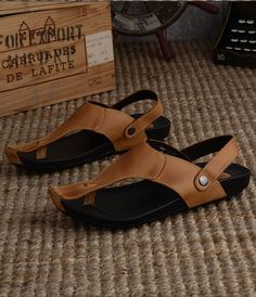 Mens Handmade Beach Leather Sandals, Summer Flip-flops, Leather Flip-flops Sandals